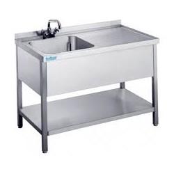 Stół ze zlewem 1-komorowym, ociekaczem i półką 1200x700x890mm