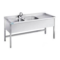Stół ze zlewem 2-komorowym, ociekaczem i szafką 1500x600x890mm