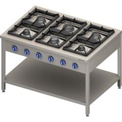 Kuchnia gazowa wolnostojąca 900 - 6 palnikowa z półką 32,5 - G30 (propan-butan)