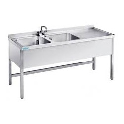 Stół ze zlewem 2-komorowym, ociekaczem i szafką 1600x700x890mm