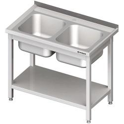 Stół ze zlewem 2-komorowy z półką 1000x600x850 mm skręcany