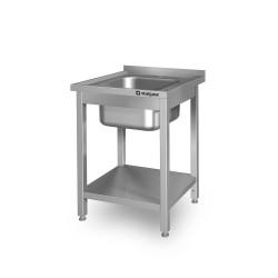 Stół ze zlewem 1-komorowym z półką 600x600x850 mm spawany